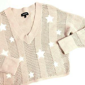 Express Star Knit Sweater V-Neckline Oversized EUC